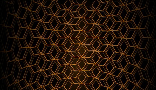 Fondo de vector de rejilla hexagonal naranja
