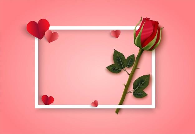 Fondo de vector rosa del día de san valentín con rosa