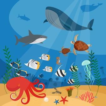 Fondo de vector submarino del océano