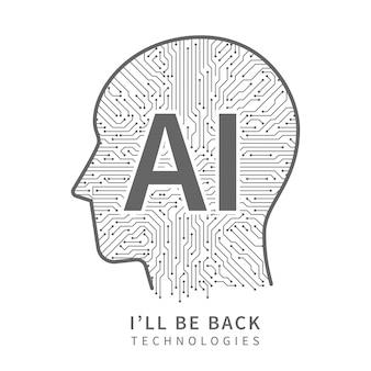 Fondo de vector de tecnología de la ciencia. concepto de ingeniería de inteligencia artificial con cabeza de cyborg.