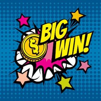 Fondo de vector vintage big win en estilo cómic pop art