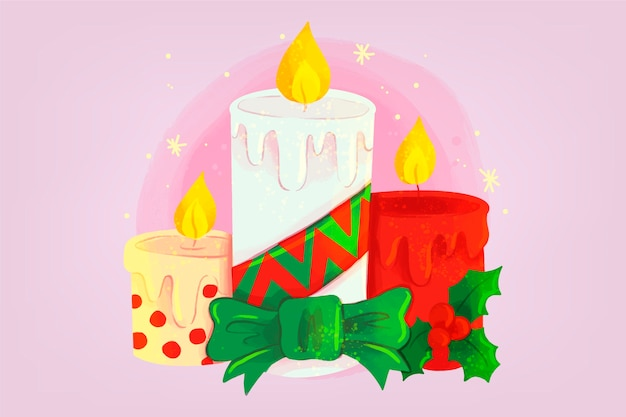 Fondo de vela de navidad acuarela