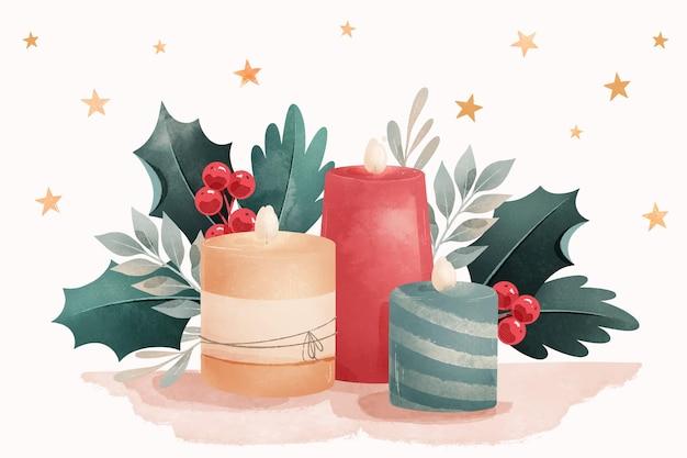 Fondo de vela de navidad en acuarela
