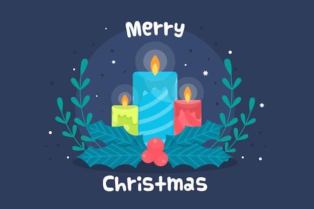 Fondo de vela de navidad de diseño plano