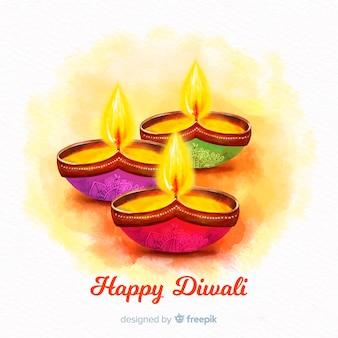 Fondo de velas de acuarela de vista frontal para diwali
