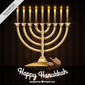 Fondo de velas y candelabro para hanukkah