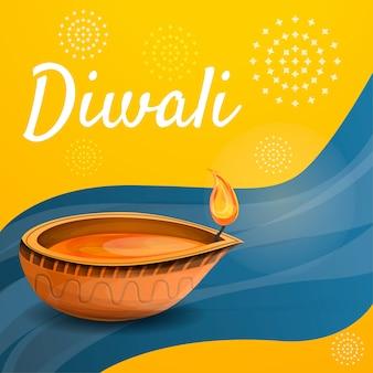 Fondo de velas de diwali, estilo de dibujos animados