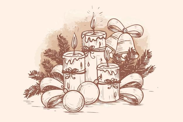 Fondo de velas de navidad dibujadas a mano