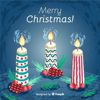 Fondo de velas de navidad dibujado a mano