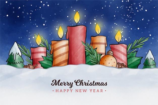 Fondo de velas de navidad de diseño acuarela