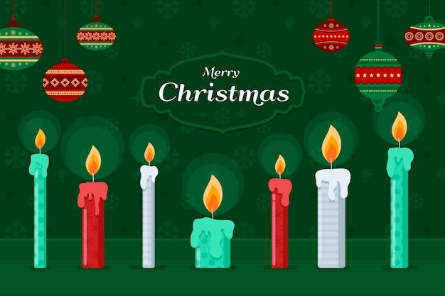 Fondo de velas de navidad en diseño plano