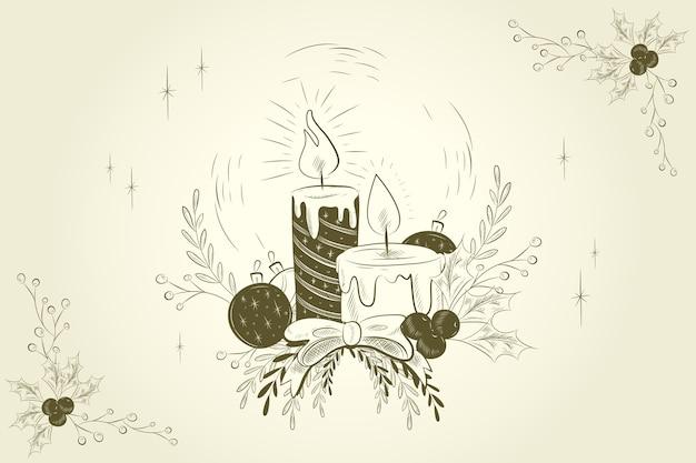 Fondo de velas de navidad vintage