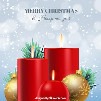 Fondo de velas rojas navideñas