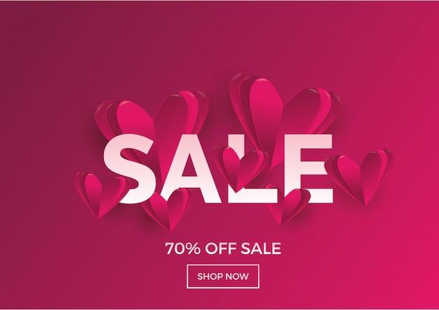 Fondo de venta de amor y el concepto de diseño del día de san valentín