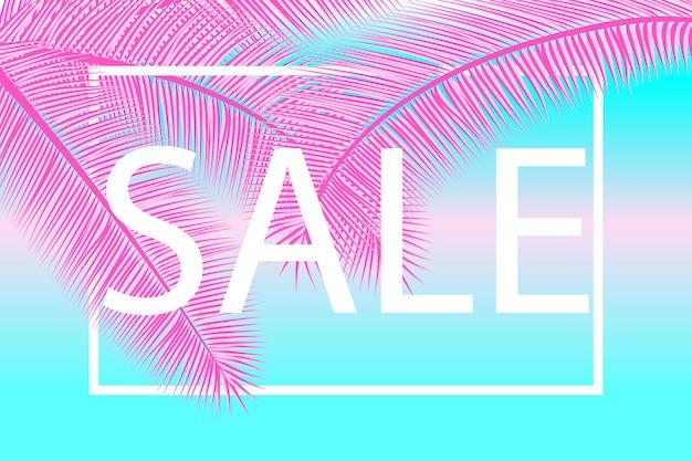 Fondo de venta. colores rosados, azules. modelo. ilustración. hojas de palma. banner de super venta.