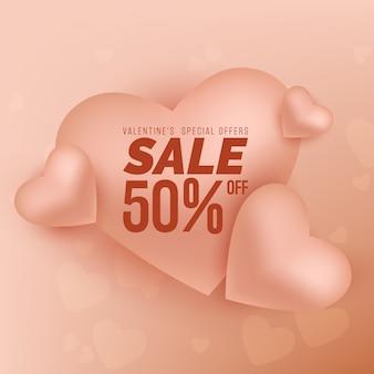 Fondo de venta de corazones de san valentín