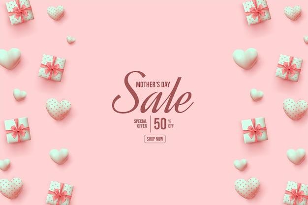 Fondo de venta del día de la madre con cajas de regalo y globos rosas.