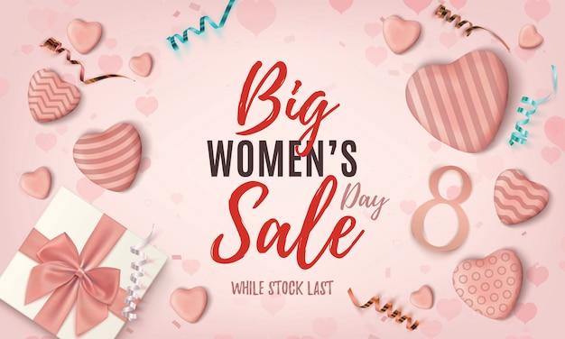 Fondo de venta del día de la mujer. plantilla de diseño abstracto rosa con cintas y corazones de caramelo realistas. folleto, cartel o plantilla de encabezado para uso web.