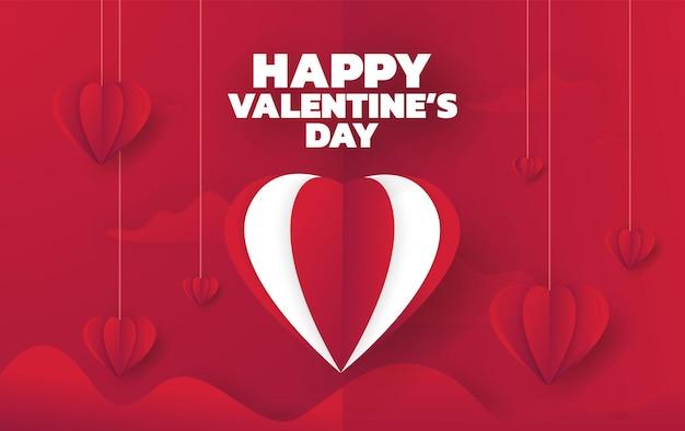 Fondo de venta de día de san valentín con globos corazón vector ilustración fondos de pantalla volantes invitación p ...