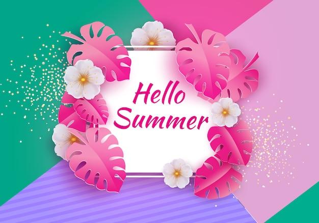 Fondo de venta estacional para pancartas, hojas de palma rosa sobre un fondo brillante. plantilla para volante, invitación, póster, folleto, descuento en cupón.