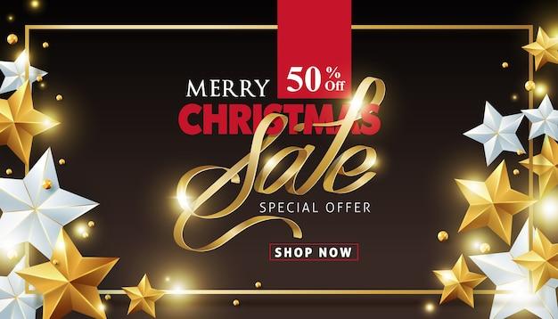 Fondo de venta de feliz navidad decorado con estrellas doradas y plateadas.