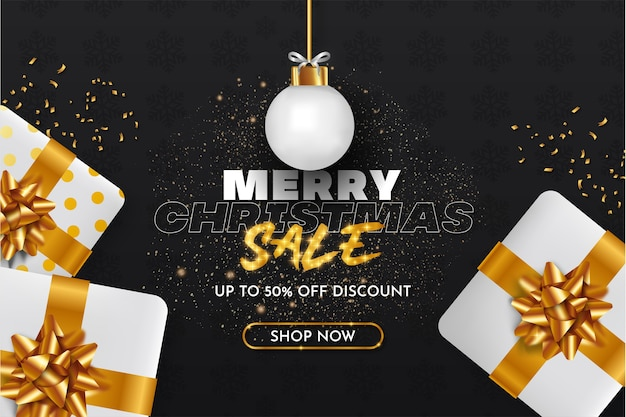 Fondo de venta de feliz navidad con objetos de navidad realistas