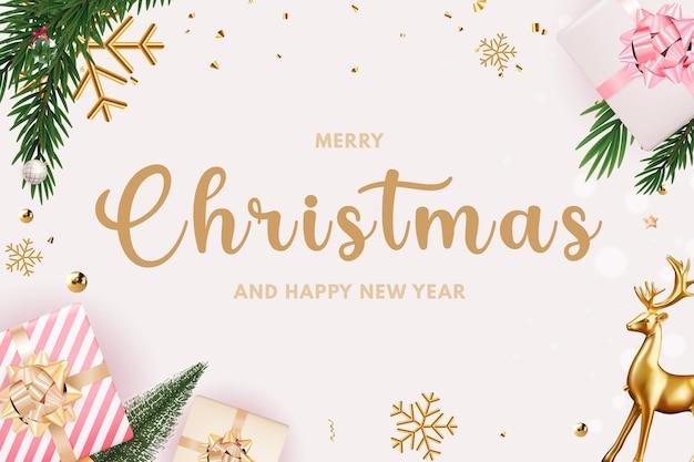 Fondo de venta de fiesta navideña feliz año nuevo y feliz navidad plantilla de póster
