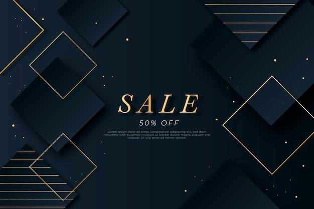 Fondo de venta de formas geométricas doradas de lujo