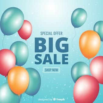 Fondo de venta de globos decorativos realistas.