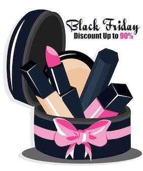 Fondo de venta de maquillaje de regalo con cinta rosa grande. wallpaper.flayer, invitación, carteles, logotipo, folleto, pancartas, calendario