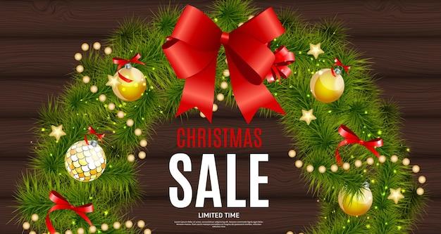 Fondo de venta de navidad y año nuevo, plantilla de cupón de descuento. ilustración vectorial eps10