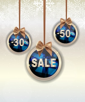 Fondo de venta de navidad y año nuevo, plantilla de cupón de descuento