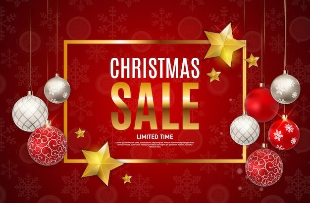Fondo de venta de navidad y año nuevo, plantilla de cupón de descuento.