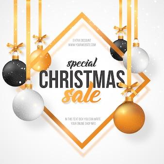 Fondo de venta de navidad con bolas de navidad