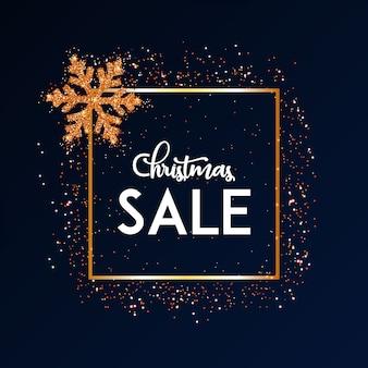 Fondo de venta de navidad con copo de nieve dorado