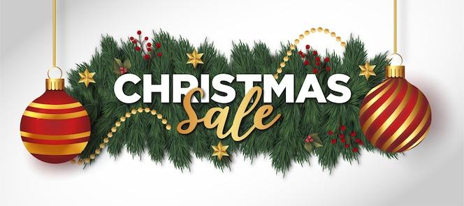 Fondo de venta de navidad con decoración navideña realista