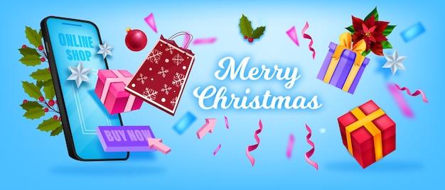 Fondo de venta de navidad y feliz año nuevo con bolsa de compras, cajas de regalo, pantalla de teléfono inteligente. banner de comercio en línea de vacaciones de invierno con regalos. diseño de rebajas navideñas con confeti en azul.