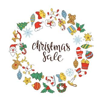 Fondo de venta de navidad con iconos planos.