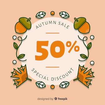 Fondo de venta otoño dibujado a mano