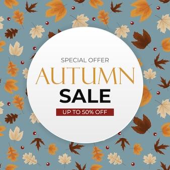 Fondo de venta de otoño con hojas caídas. se puede utilizar como publicación de historias en redes sociales. ilustración vectorial eps10