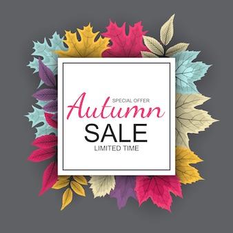 Fondo de venta otoño con hojas de otoño cayendo