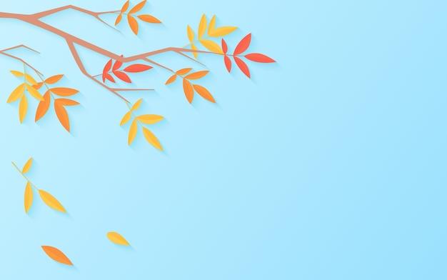 Fondo de venta de otoño con rama de árbol con hojas multicolores
