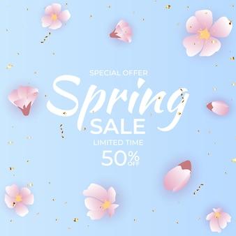 Fondo de venta de primavera de flor de luz natural.