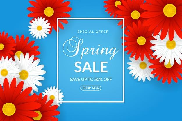 Fondo de venta de primavera con hermosas flores blancas y rojas