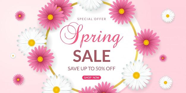 Fondo de venta de primavera con hermosas flores blancas y rosadas