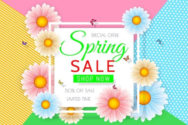 Fondo de venta de primavera con hermosas flores de colores. plantilla de diseño floral para cupón, banner, vale o cartel promocional.