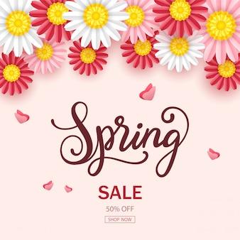 Fondo de venta de primavera con hermosas flores
