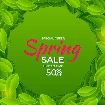 Fondo de venta de primavera de luz natural. ilustración.