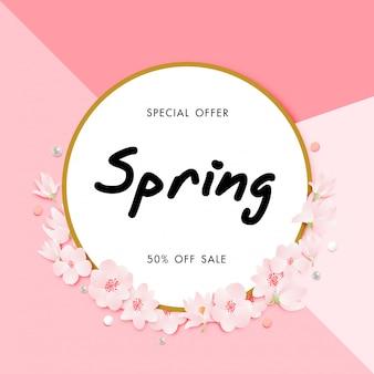 Fondo de venta de primavera con vector de flor de cerezo