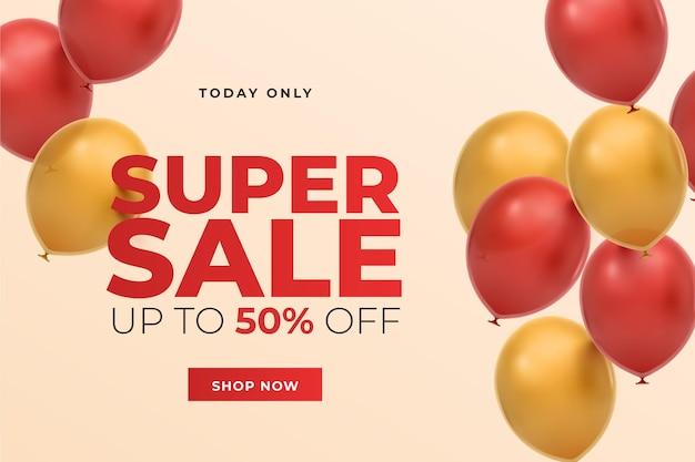 Fondo de venta realista con globos